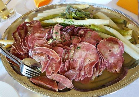 Tongue With Asparagus, Pigs Tongue, Asparagus, Eat