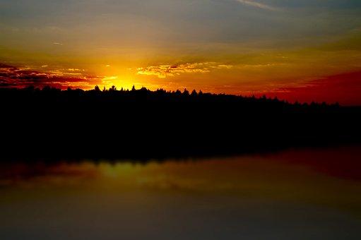 West, The Sun, Lake, Sunset, Sea, Sky, Clouds, Light