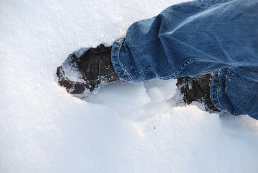 Shoes, Snow, Walk, Jeans, Winter, Background