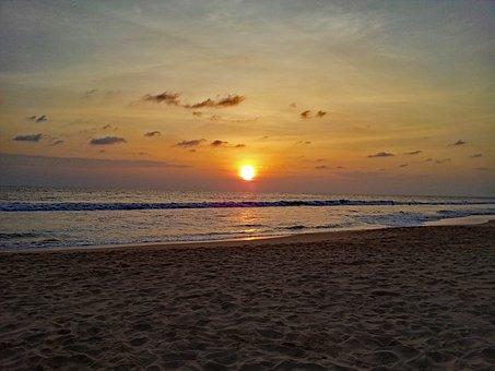 Hikkaduwa, Sri Lanka, Sunset, Beach, Sand