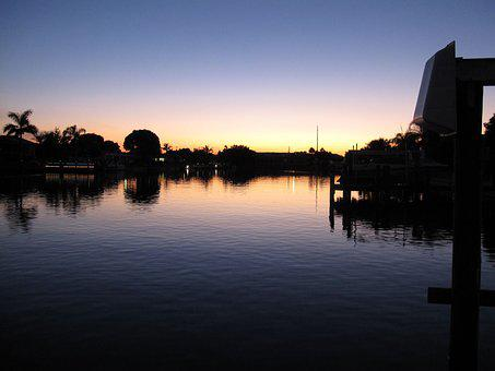 Florida, Cape Coral, Channel, Sunset, Usa
