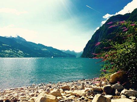 Lake Walen, Switzerland, Turquoise, Water, Mountains