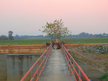 Tractor, Bridge, Thailand, Sunset, Transport