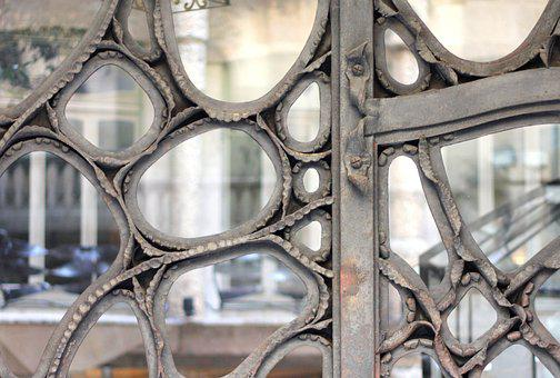 Metal, Glass, Door, Barcelona, Gaudi, Window, Pattern