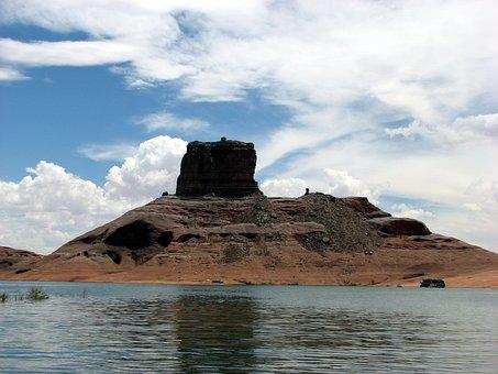 Lake Powell, Cookie Jar Butte, Butte, Lake, Desert
