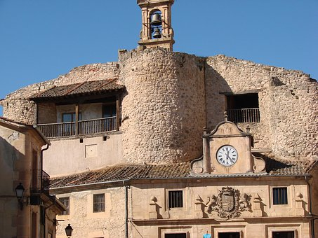 Clock, Bell Tower, Construction In Stone, Church
