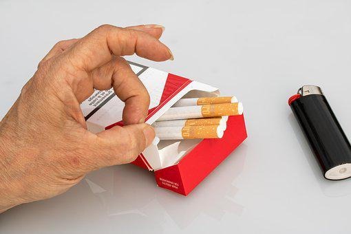 Non Smoking, Cigarettes, Cigarette Box, Hand, Finger