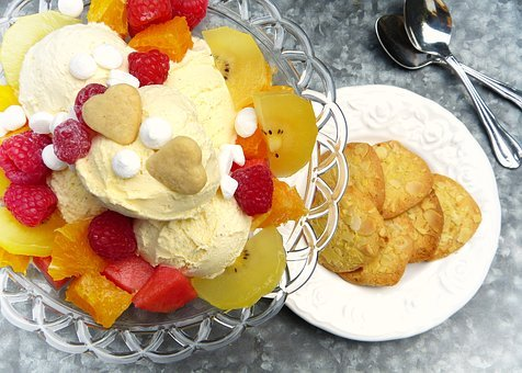 Ice Cream Sundae, Ice, Ice Cream, Fruit, Fruits