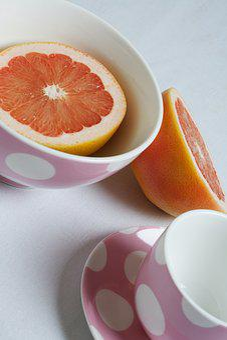 Breakfast, Grapefruit, Pink, Ruby, Red, Health, Healthy