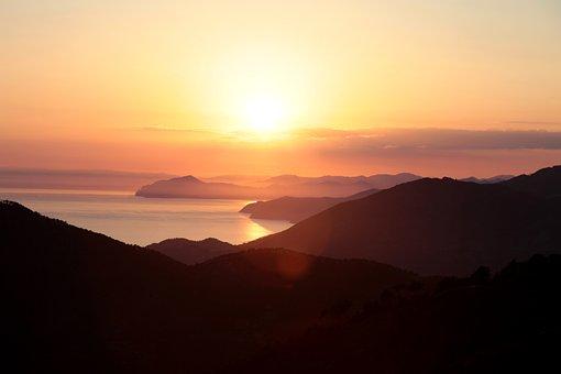 Italy, Sunset, Landscape, Sea, Mountain, Sunlight
