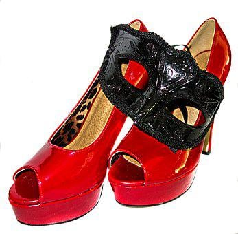 High Heels, Mask, Red, Paint, Leather, Black