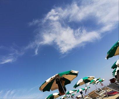 Sea, Sun, Sky, Clouds, Blue, Color, Beach, Umbrellas