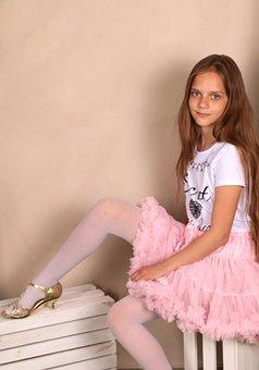 Girl, Model, Posture, Skirt, Sitting, Posing