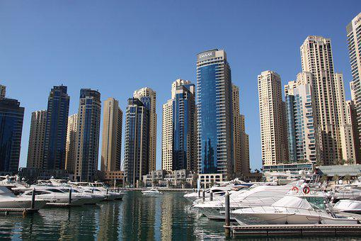 Dubai, Skyscrapers, Sunset, Summer, Warm, Dubai Marina