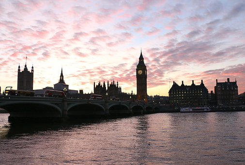 London, Big Ben, England, Clock, Uk, Sunset