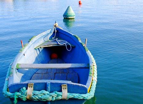 Boat, Rowing Boat, Blue Boat, Rowing, Water, Lake