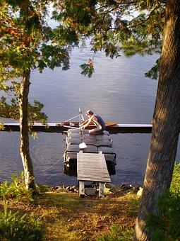 Scull, Sculling, Rowing, Rower, Boat, Oar, Single, Lake