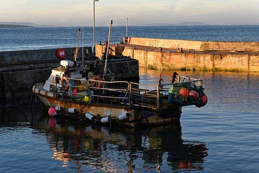 Boat, Fishing Boat, Harbor, Sunset, Harbour, Sea, Water