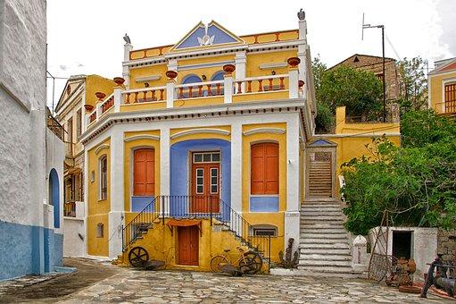 Symi, Greece, Buildings, Nautical Museum, Colorful