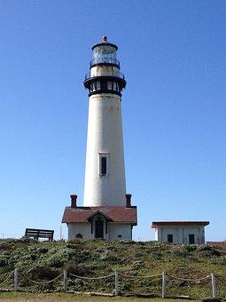 Lighthouse, Light House, California, Pigeon Point, Sea
