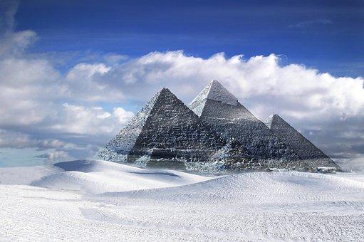 Pyramids, Gizeh, Egypt, Snow, Landscape, Creative