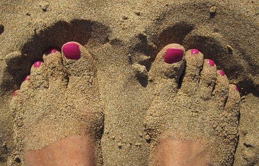 Feet, Barefoot, Sexy, Ten, Sand, Nail Varnish