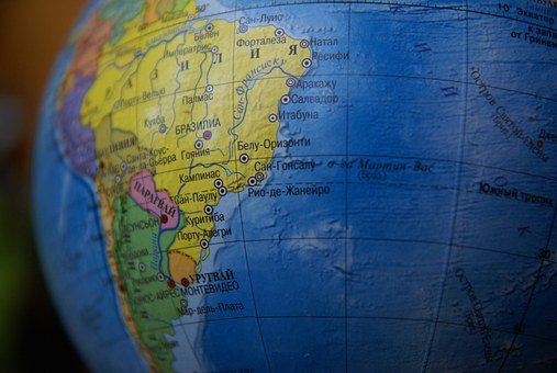 Globe, Land, South America, Ocean, Brazil, Geography