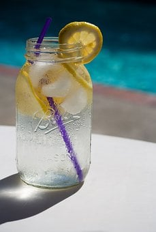 Water, Lemon, Pool, Summer, Refreshing, Glass, Jar