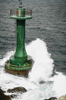 Lighthouse, Sea, Foam, Scenery, Sky, Island, Travel