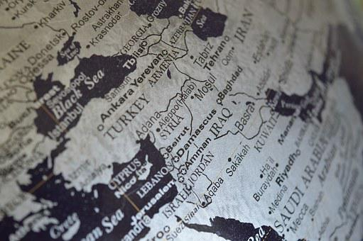 Syria, Middle East, Map, Globe, Iraq, Continent, World