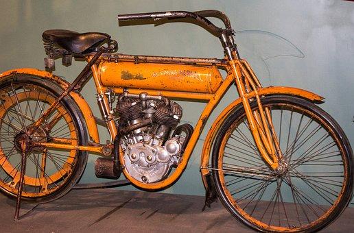 Motorcycle, Antique, Vintage, Relic, Orange, Bicycle