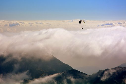 Paragliding, Clouds, Mountain, Fly, Parachute