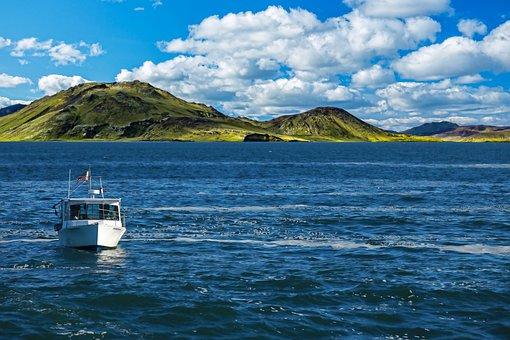 Boat, Sea, Sea Scape, Hills, Mountains, Blue Sky, Ship