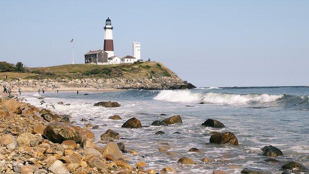 Lighthouse, Coast, Ocean, New England, Usa, Northeast