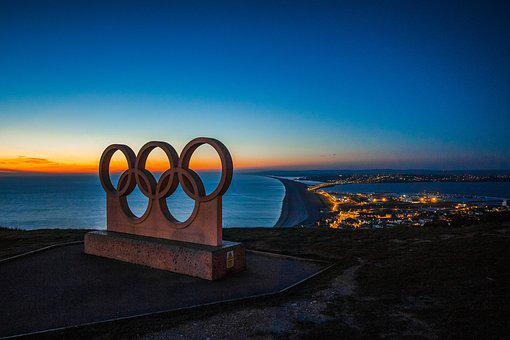 Portland, Panorama, Night, Symbol, City, Olympic Rings