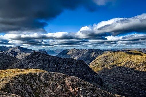 Glen Coe, Scotland, Sky, Clouds, Uk, Landscape