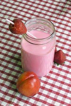 Jar, Smoothie, Drink, Shake, Peach, Strawberry, Diet