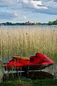 Jetski, Red, Reeds, Lake, Boat, Fun, Sky, Sport, Water