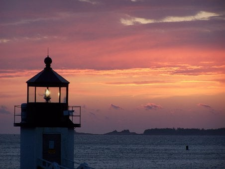 Sunset, Water, Lighthouse, Sky, Skyline, Clouds, Sea