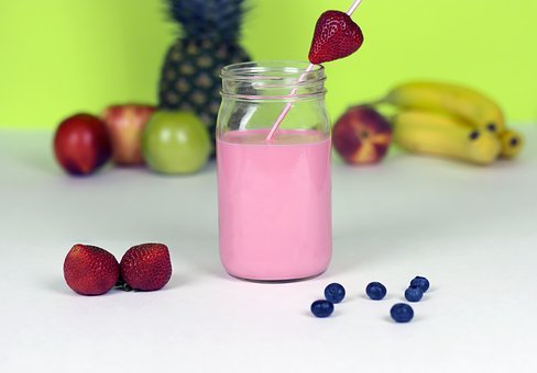 Jar, Drink, Smoothie, Pink, Strawberry, Blueberry