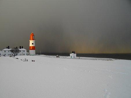 Lighthouse, Snow, South Shields, Coast, Cold, Beacon