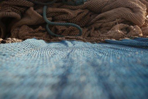Fishing Net, Mesh, Close-up, Blue, Net, Woven, Textile