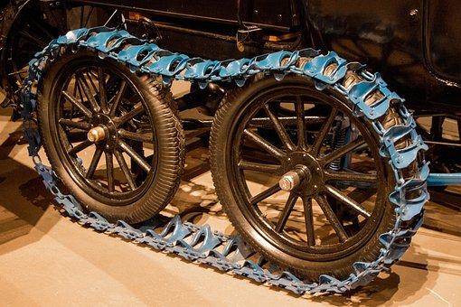 Vintage Track, Innovation, Invention, Tread, Snow, Blue