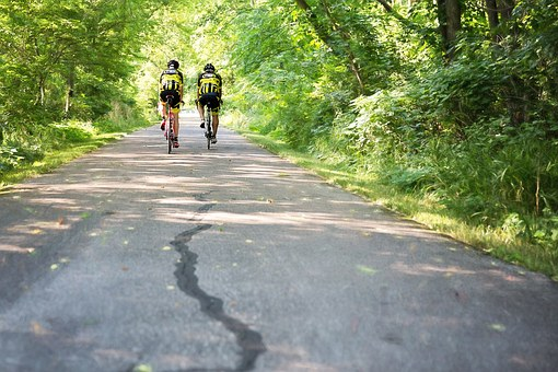 Two Men On Bicycles, Bike Trail, Biking, Bicycles