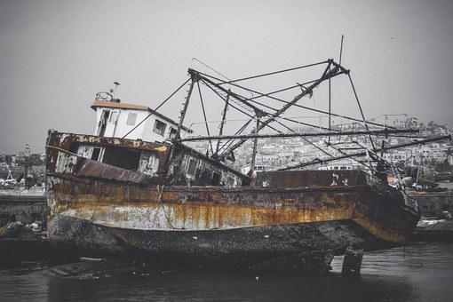 Boat, Wreck, Ship, Sea, Old, Water, Vessel, Nature