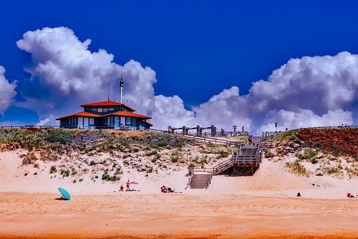 France, Beach, Sand, Seashore, Sky, Clouds, Summer