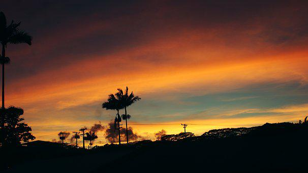 Sunset, Trees, Clouds, Red, Coconut Trees, Hawaii, Palm