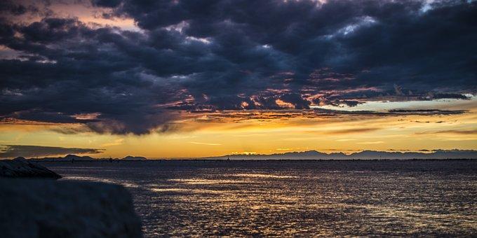 Sunset, Laguna, Veneto, The Euganean Hills, Reflections