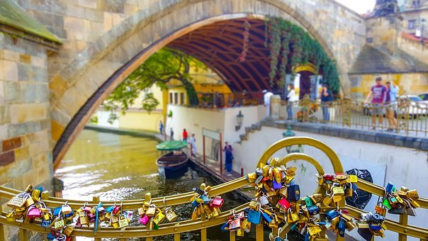 Prague, Key, Lock, Chain, Locket, Padlock, Bridge