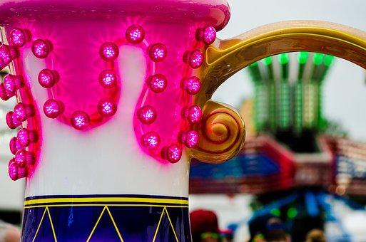 Funfair, Teacups, Amusement Park, Lights, Park
